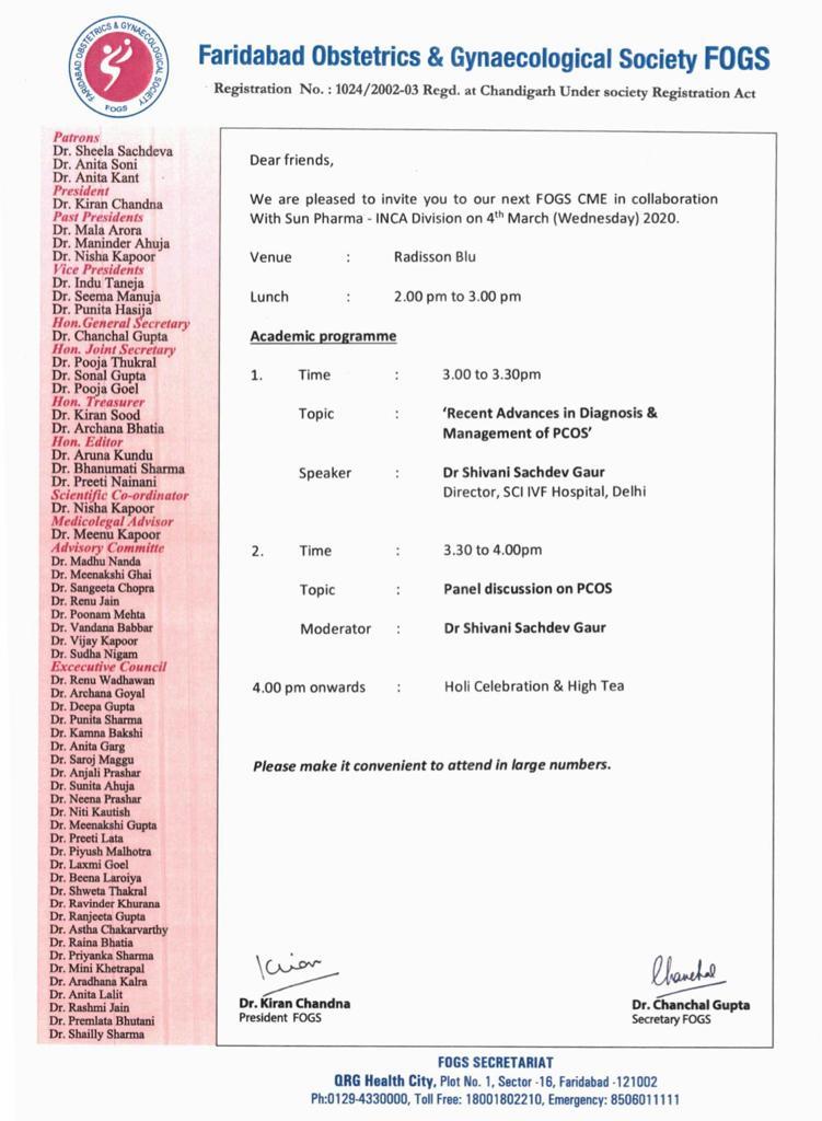 Faridabad Obstetrics & Gynecological Society FOGS CME - 4th March, 2020